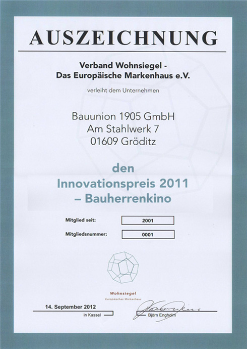 Innovationspreis 2011 - Bauherrenkino