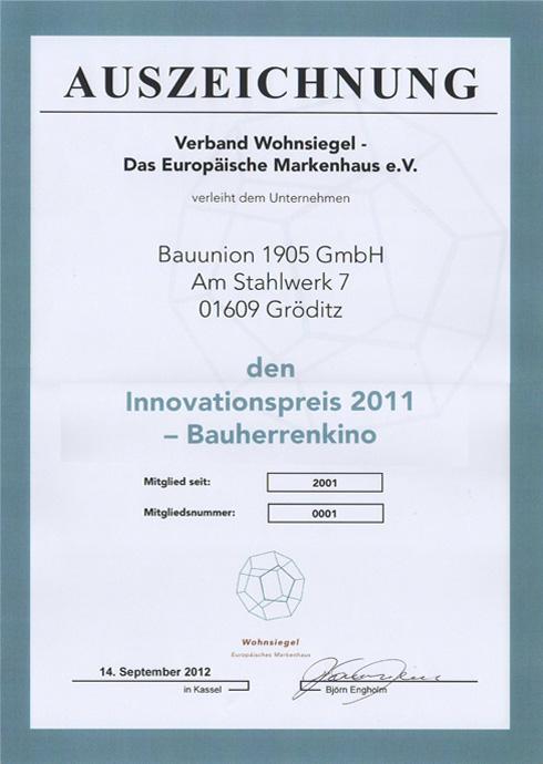 Innovationspreis 2011 - Bauherrenkino
