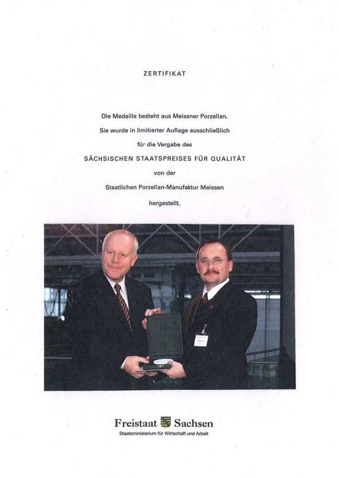 Sächsischer Staatspreis für Qualität