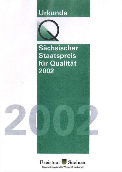 Urkunde Sächsischer Staatspreis für Qualität 2002